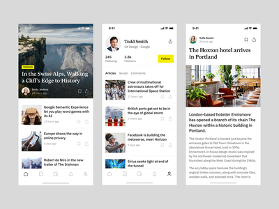 News App lifestyle travel profile teaser article news mobile ios application