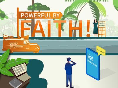 Powerful By Faith Invitation graphic design vector illustration invitation jw