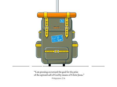 Volunteering Goal travel bag inspiration faith design vector illustration graphic design jw