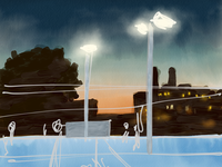 Tennis Courts at Twilight (work in progress)