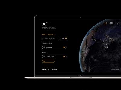 Earth-to-Earth Transport UI inspiring spacex design spacex colour dark theme user interface clean black future app design ui spaceship space
