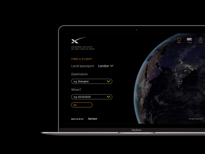 Earth-to-Earth Transport UI inspiring spacex design spacex colour dark theme user interface clean black future app design ui spaceship space
