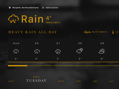 Experimental Weather Interface weather app location colourtheory colour environmental responsive rain ui weather