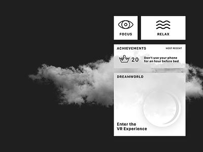 Dreamworld lightmode darkmode dark theme black white meditation relaxation games app sleep desktop