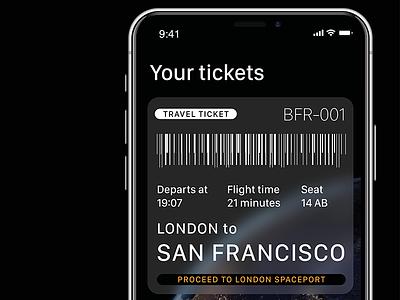 SpaceX BFR Ticket dark iphonex iphone ui ticket app transport travel bfr spacex space