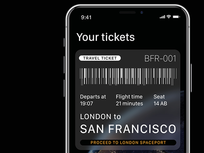 SpaceX BFR Ticket dark iphonex iphone ui ticket app transport travel bfr spacex space
