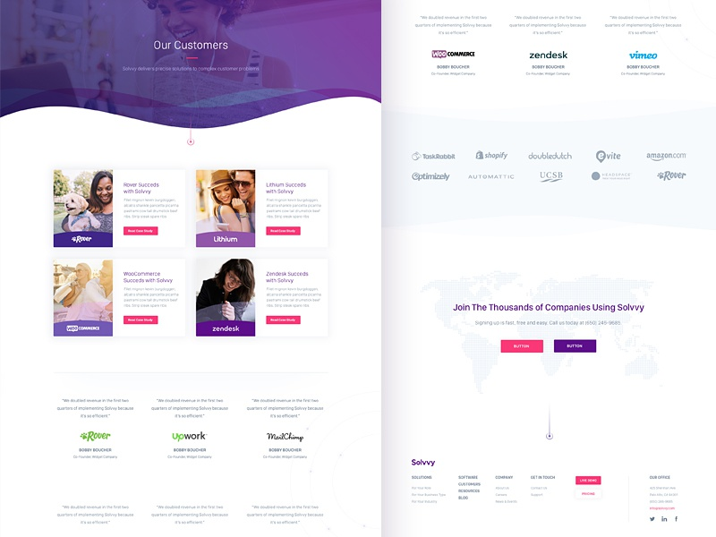 Solvvy, Customers Page design interface website ux ui branding brand aid