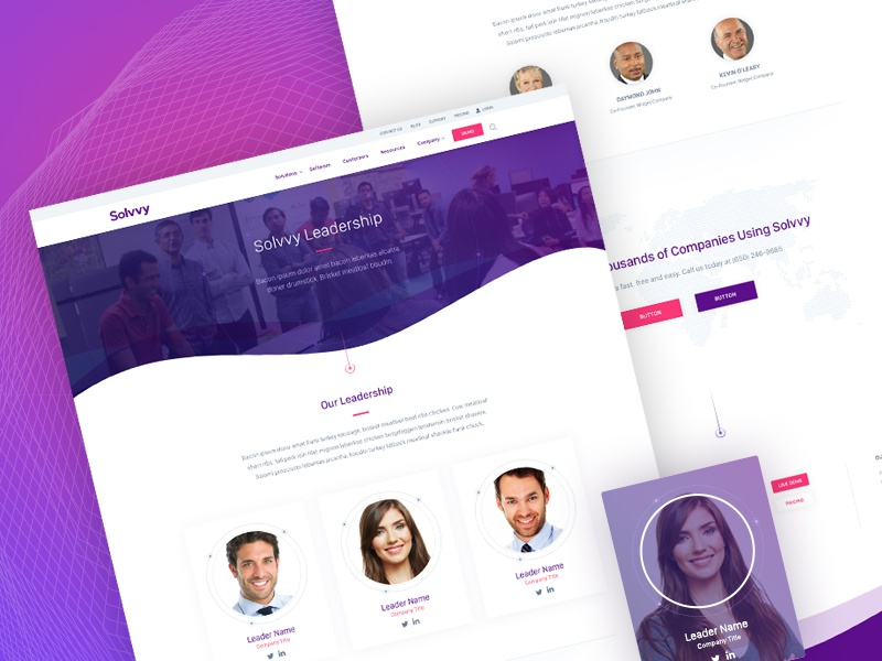 Solvvy, Leadership Page design interface website ux ui branding brand aid