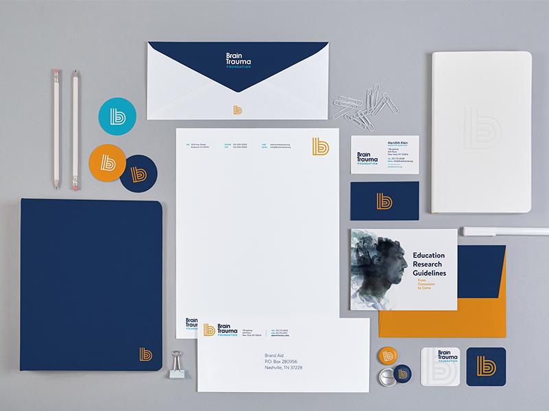 Brain Trauma Foundation sidecar brand aid branding identity stationary collateral letterhead business card brain b