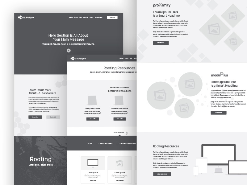 U.S. Polyco Wires content strategy ux wireframes brand aid
