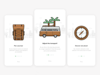 Onboarding app onboarding compass camper backpack icons travel