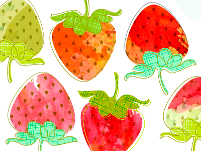 new pattern: in-progress pattern watercolor strawberry doodle