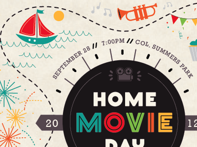 Home Movie Day Poster trumpet sailboat fireworks camera movie