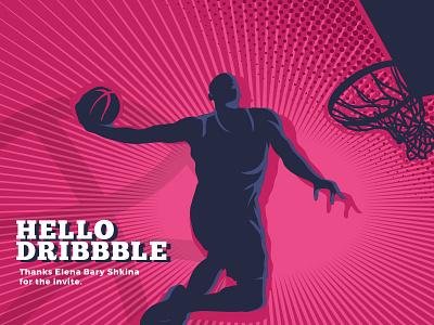 Hello Dribbble first shot invite debute shot basketball dribbble hello