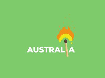 AUSTRALIA ON FIRE (2019) poster fire minimalism flat australia vector ux typography motion graphics 3d logo ui illustration graphic design design branding animation