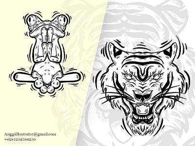 Hand Drawn Animals Doodle Vector Illustration tiger head mascot head frog tiger wildlife animal cartoon vector illustration hand drawn design