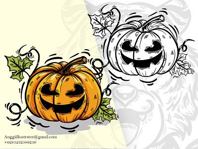 Helloween Pumpkin Doodle Illustration doodle pumpkin helloween animal cartoon vector illustration hand drawn design