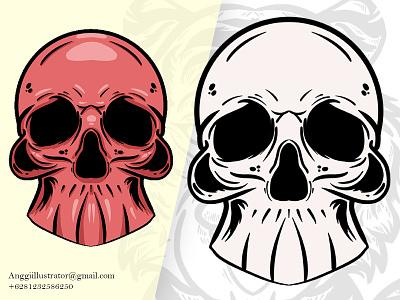 Hand Drawn Skull Head Vector Illustration head skull wildlife animal cartoon vector illustration hand drawn design