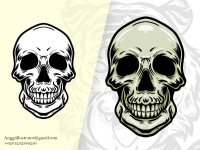 Skull Head Vector Illustration human man head skull wildlife animal cartoon vector illustration hand drawn design