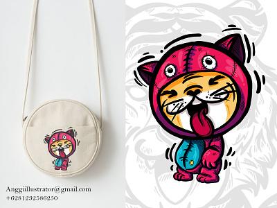 Cute Tiger Illustration For Bag Design babby tiger tiger merchandise cute wildlife animal cartoon vector illustration hand drawn design