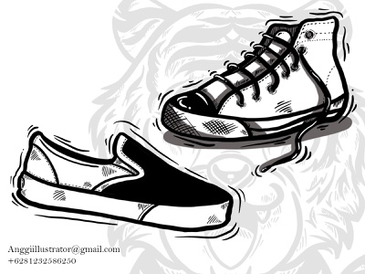 Shoes Sneakers Doodle Hand Drawn Vector Illustration free hand white black sneakers shoes doodle cartoon vector illustration hand drawn design