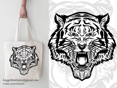 Tiger Head Illustration For Totebag Design digital art angry character head tiger wildlife animal cartoon vector illustration hand drawn design