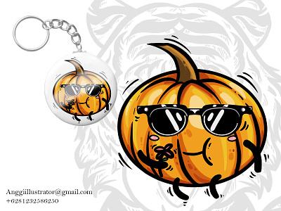 Cute Pumpkin Character Vector Illustration halloween animal cartoon vector illustration hand drawn design pumpkin