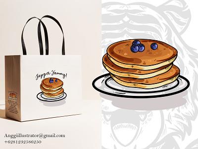 Panecake Vector Illustration For Print cake foof breakfast panecake animal cartoon vector illustration hand drawn design