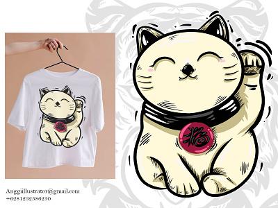Maneki Neko Lucky Cat Vector Illustration cute lucky cat maneki neko tiger cat wildlife animal cartoon vector illustration hand drawn design