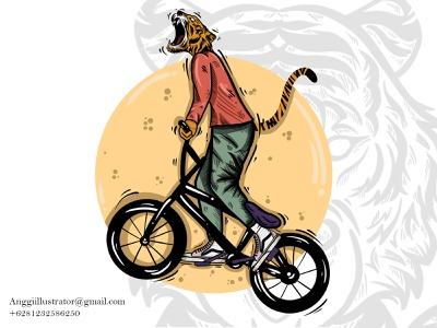 Tiger Riding Bicycle Vector Illustration bicycle bike riding riding bicycle wildlife animal cartoon vector illustration hand drawn design