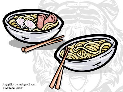 Ramen Noodle Outline Vector Illustration cartoon vector illustration hand drawn design soup cup ramen udon noodle oriental chinese asian japan foof