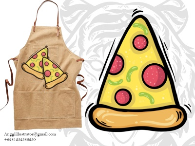 Hand Drawn Pizza Outline Vector Illustration logo cartoon vector illustration hand drawn design food italy pizza