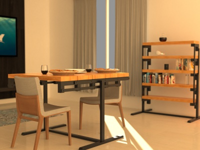 Convertible Table as a Standard Table home design ikea furniture table solidworks keyshot ideas design concept 3d modelling 3d cad aesthetic