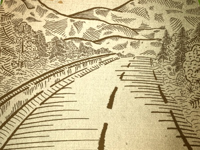 Valley Illustration illustration drawing mountains road trees