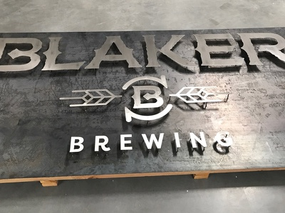 Blaker Brewing Sign craft beer craft beer branding logo metal sign