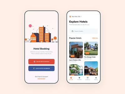 Hotel Booking App mobile iosdesign appdesign ui ux typography design app