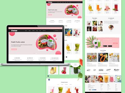 Fresh Juice -Mockup Web Design illustration figma design ui graphic design