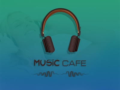 Music Cafe headset vector ui ux
