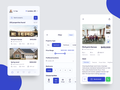 Real Estate App mobile ui uidesign ui  ux mobile real estate design real estate agent realestate figma app ui