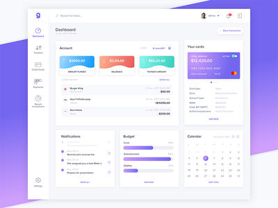 Dashboard Bank Transfer app web design dashboard bank