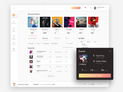 Music Dashboard App digital web sketch design app dashboard music