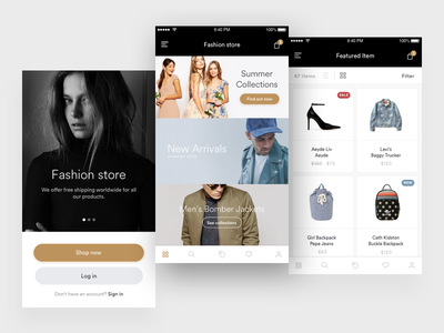 Clothing store concept sketch design app mobile