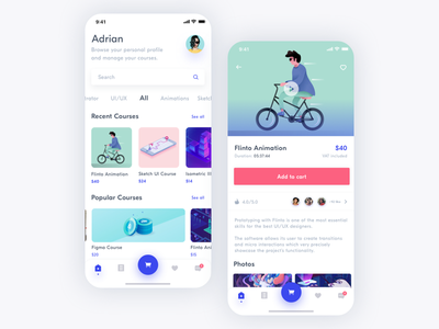 Courses App sketch design courses ios app