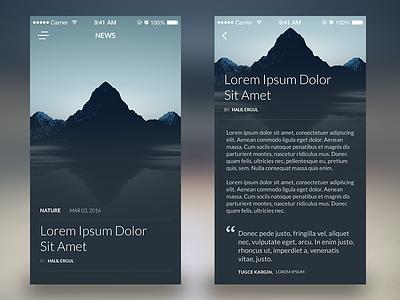 News App iphone ios ui design nature blog news mockup mobile app