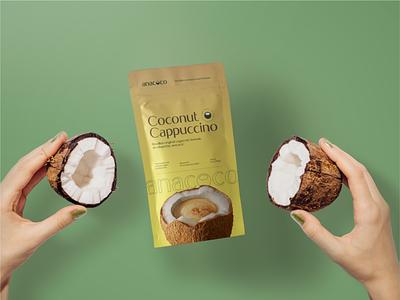 anacoco Rebranding - Cappuccino Package healthy vegan fresh logo design anacoco cappuccino packaging package graphic design branding coco coconut logo
