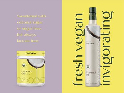 anacoco - Coconut Oil Jar and Bottle fitness coconut oil oil logo illustration design fresh graphic design coconut branding coco cappuccino anacoco