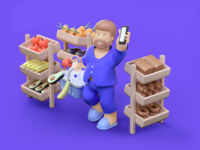Grocery shopping at home stylized character motion animation 3d illustration
