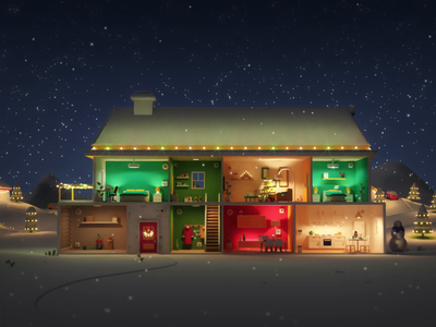 Nova Smarthome house christmas ueno animation illustration 3d