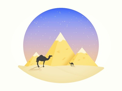 Egyptian pyramid desert cartoon camel pyramid egypt place color logo icon art vector illustration