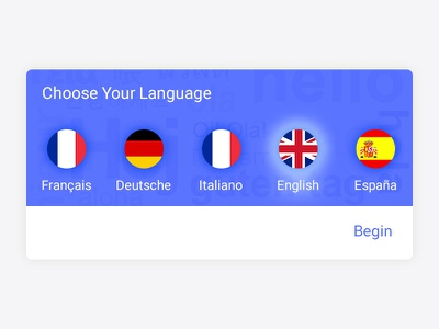 Language Selection design web android button flag icon ux ui selector language material ios